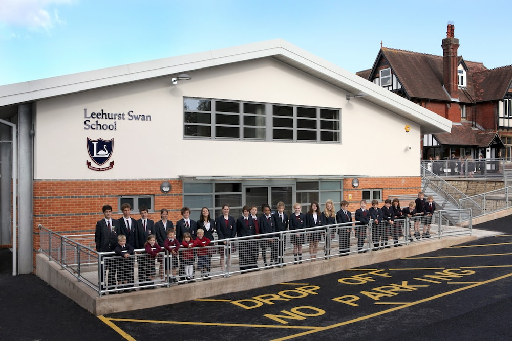 pupils outside Leehurst Swan School