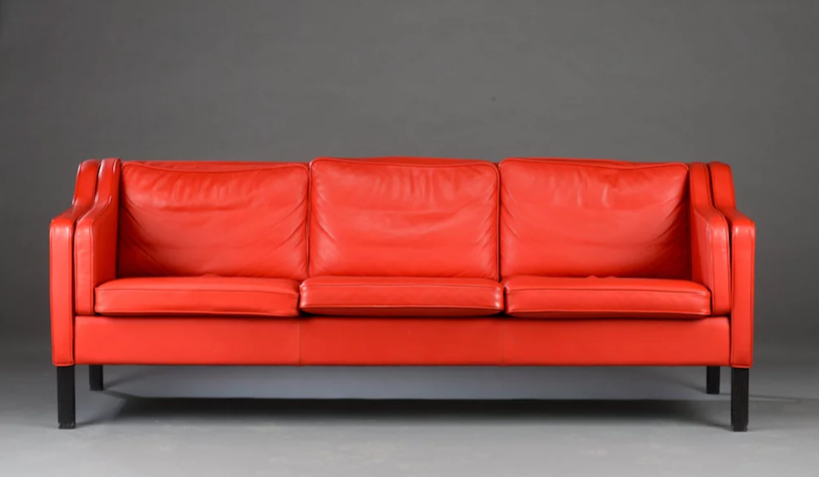 red leather Seventies sofa