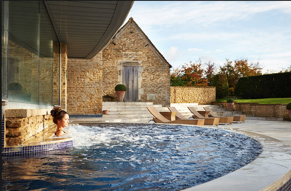 outdoor hydrotherapy pool woman