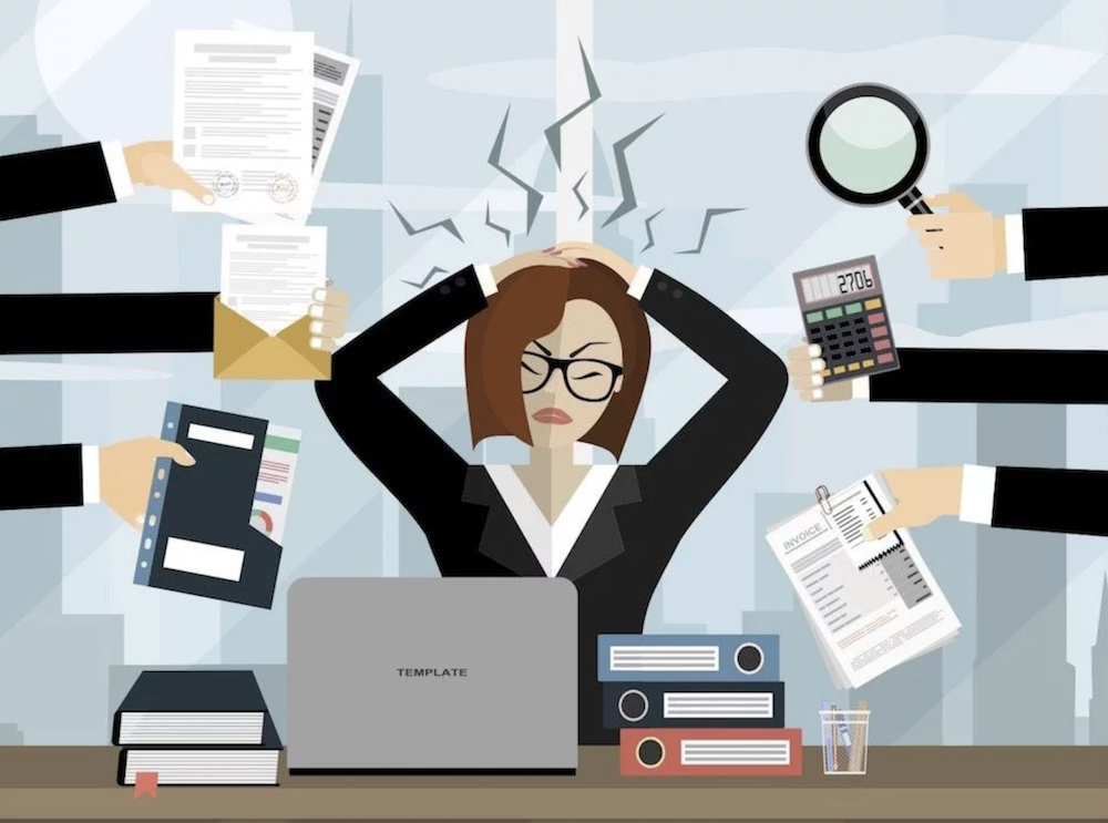 illustration woman tearing her hair out too much work to do laptop demands