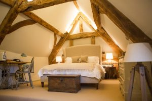 double bed beams bedroom