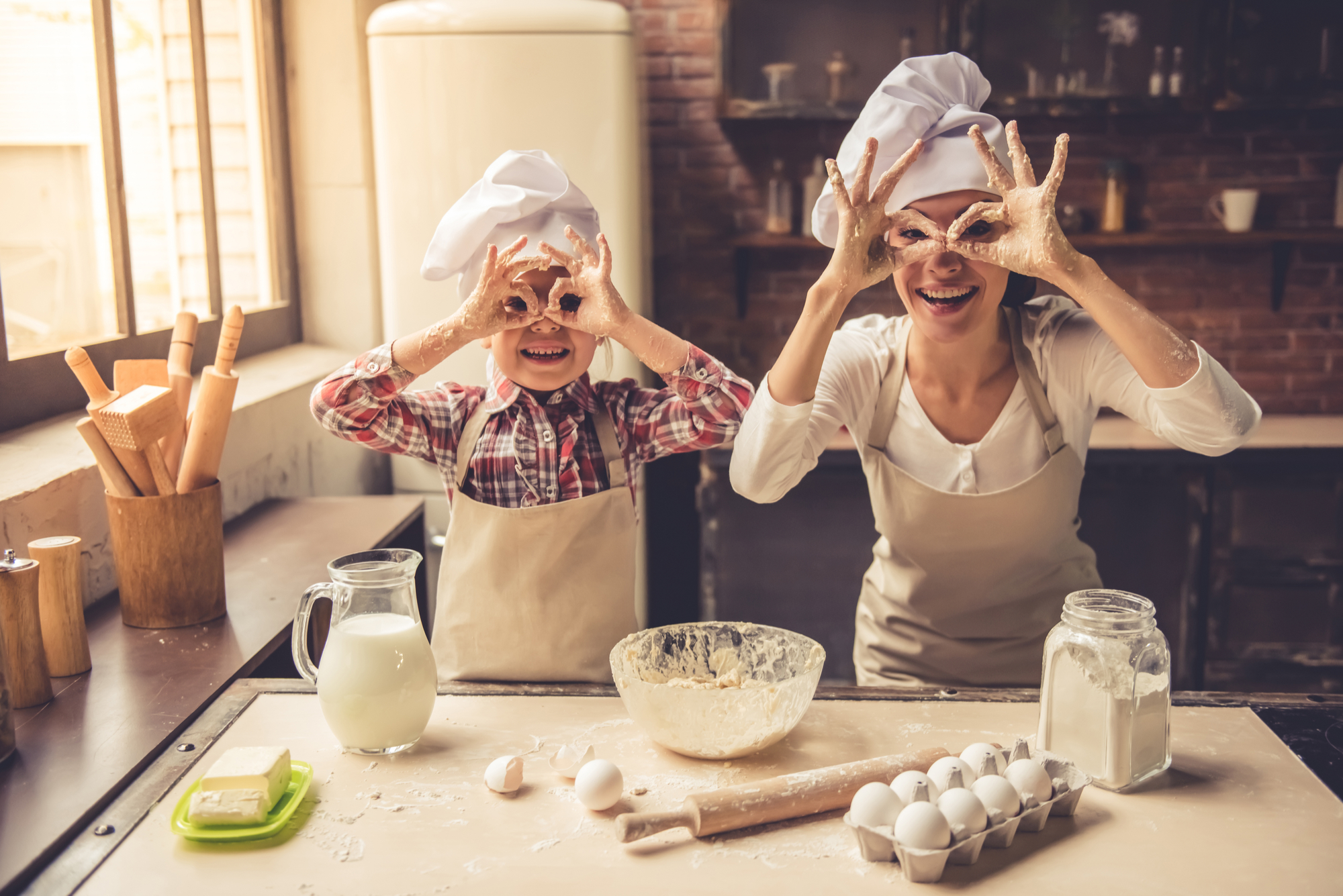 woman girl baking