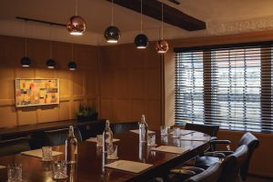 boardroom leather chairs copper lampshades